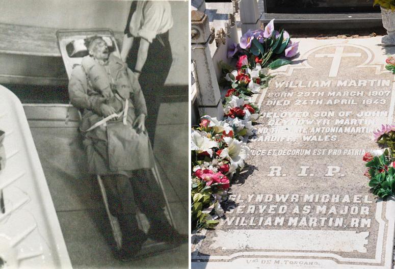 A sinistra il cadavere del 'maggiore Martin' sul sommergibile Seraph; a destra la tomba nel cimitero di Huelva, con la lapide, posta dopo la fine della guerra, dove è scritto 'Glyndwer Michael served as major William Martin'