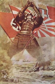 Un manifesto di propaganda stampato in questi mesi ma poco diffuso: un guerriero che ha dietro di sé le bandiere delle nazioni della Germania, del Giappone e dell'Italia (ossia del cosiddetto 'patto tripartito') si appresta a distruggere le forze armate dei paesi che Mussolini chiama 'potenze plutocratiche'