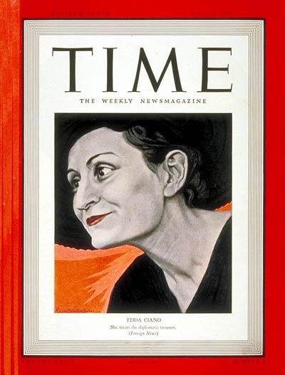 Edda è nota anche all'estero come un personaggio psicologicamente interessante, ribelle e lunatica. Nel luglio del 1939 ha meritato una copertina della rivista americana Time