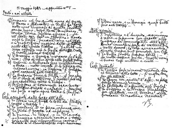 Le due prime pagine dell'appunto autografo di Vittorio Emanuele sulla situazione militare