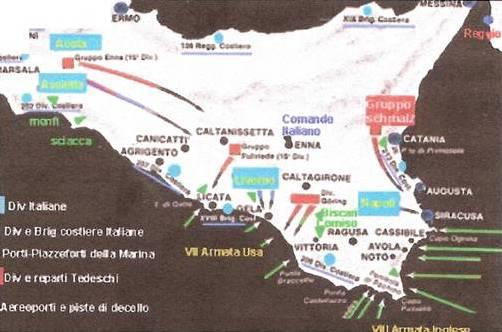 Lo sbarco in Sicilia secondo i piani militari dei Comandi angloamericano e italotedesco.
