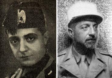 Giuseppe Bottai in uniforma fascista a sinistra e, a destra, nell'uniforme della Legione Straniera, di cui fece parte dopo essere stato condannato a morte dalla Repubblica di Salò. Nel 1944-45 combatté contro i tedeschi in Francia e Germania e fu promosso sergente sul campo. Tornò in Italia nel 1948
