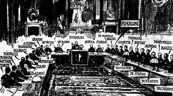La sala del Gran Consiglio del fascismo a palazzo Venezia nella notte fra il 24 e il 25 luglio. Alle riunioni non erano ammessi fotografi o cineoperatori e il disegno è stato fatto sulla base dei documenti e delle testimonianze dei membri partecipanti