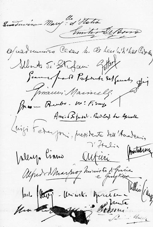 Le firme dei 19 consiglieri che approvarono l'ordine del giorno di Dino Grandi