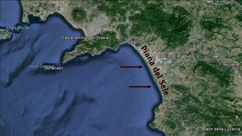 Il golfo di Salerno e la Piana del Sele, tra Salerno e Agropoli, dove sono avvenuti gli sbarchi (l''Operazione Avalanche') su un fronte di una quarantina di chilometri