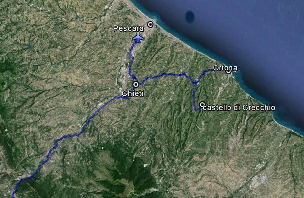 Il percorso del re e della regina prima dell'imbarco a Ortona sulla corvetta Baionetta: da Roma a Chieti e poi al castello di Crecchio; da Crecchio di nuovo a Chieti e all'aeroporto di Pescara; da qui ancora a Crecchio; finalmente da Crecchio a Ortona.