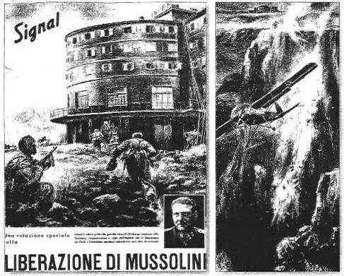 L'assalto all'albergo di Campo Imperatore (a sinistra, col ritratto di Skorzeny) e il decollo dall'altopiano del Gran Sasso dell'aereo con Mussolini in due disegni del settimanale tedesco 'Signal', che le autorità tedesche stampano in versione italiana