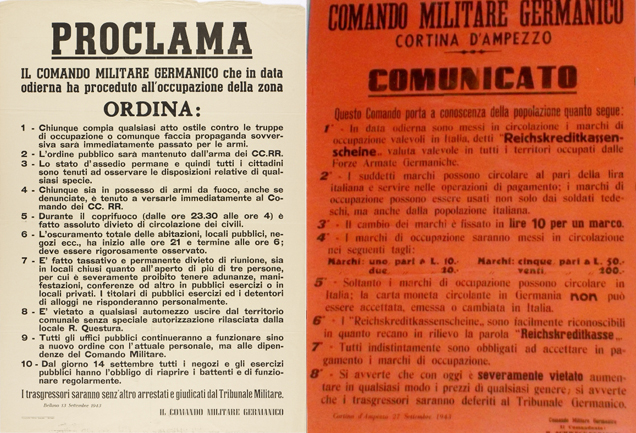 Manifesti durante l'occupazione tedesca di Cortina