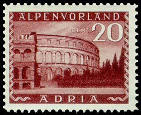 Un francobollo della serie stampata ma non emessa nel 1944