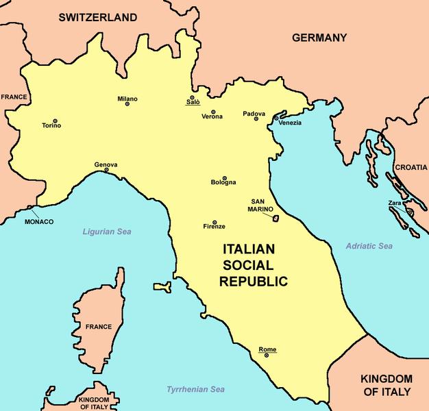 Ecco, in una pubblicazione inglese, l'Italia del 1944: Regno d'Italia al Sud e Repubblica Sociale senza le province di Trento, Bolzano, Belluno, Gorizia, Trieste, Fiume e Pola.