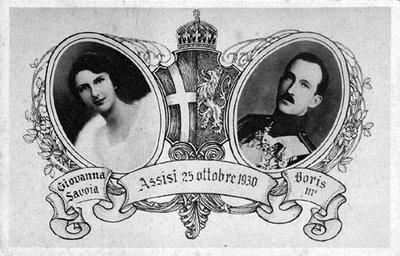 La cartolina ricordo del matrimonio di Giovanna di Savoia col re Boris III di Bulgaria