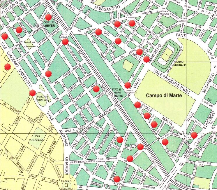 Il lungo scalo ferroviario di Campo di Marte a Firenze e, intorno, le bombe più distruttive cadute sui quartieri residenziali oltre i viali di circonvallazione