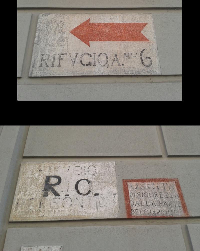 Molti palazzi in città hanno voluto conservare sulle facciate le indicazioni per i rifugi. Queste sono state fotografate nel quartiere di Montughi