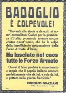 Il manifesto diffuso a Roma dopo il discorso del maresciallo Graziani al teatro Adriano; anche uno sfogo contro il suo nemico Badoglio