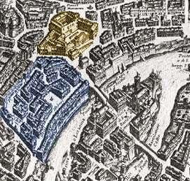 A sinistra (leggermente colorato in blu) il Ghetto di Roma in una stampa del Seicento