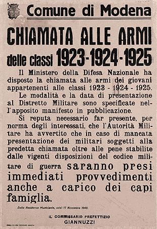Chiamata alle armi delle classi 1923 - 1924 - 1925